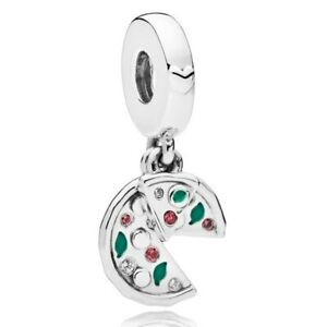 FAST Ship 925 Sterling Silver Green Enamel Passion For Pizza crystal bead charms
