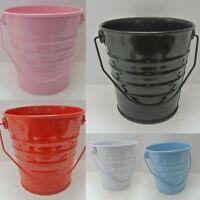6x Mini Small Tin Metal Pail Bucket Party Favour Garden Pot Home Organizar