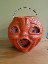 "Vintage Halloween Pulp JACK-O-LANTERN LARGE 1950's 7"" Tall"