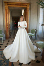 White Wedding Dresses Bridal Ball Gown Long Sleeve Elegant Sweep Train Boat Neck