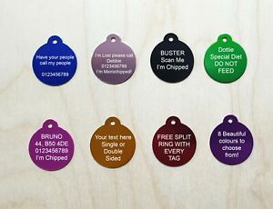 ENGRAVED DOG TAG PERSONALISED ROUND ID NAME DISC PET CAT TAGS Engraving Charm