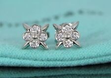 $2,650 Tiffany & Co Lace Platinum 0.25ct Round Diamond Bezel Set Stud Earrings