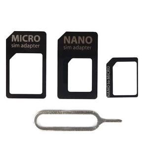 4 in 1 Pack Nano Micro & Standard Sim Card Adapter For Mobile Phone Smartphone