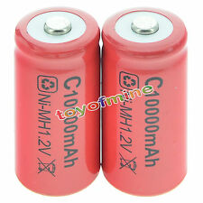 2x C size 1.2V 10000mAh Ni-MH Red Color Rechargeable Battery