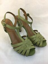 "Womens Tahari Green Leather T Strap Peep Toe  4"" Heels Summer Sandals Shoes 6.5"