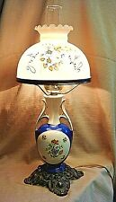 STUNNING Vintage / Antique Ceramic Lamp w/Hurricane & Hand Painted Glass Shade