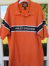 Harley-Davidson MotorCycles Cotton Orange Embroidered Spell Out Polo Shirt Large