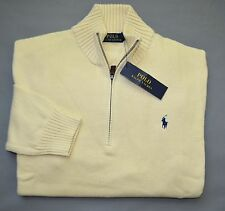 New XL POLO RALPH LAUREN Mens half zip Sweater cream ivory jumper Extra large RL