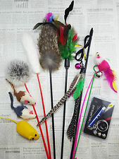 10 pieces Assorted Set Pet Cat Toy Teaser Wand Fishing Laser Catnip Mouse Bells