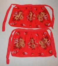 2 Vtg Christmas Half Aprons Poinsettias Bells Ornaments Red Black White Gold