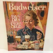 Vintage 1961 Budweiser Big Size Beer Retro Party Girl Print Ad