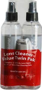 Optical Lens Cleaner 2 x 236ml Bottles + 2 Microfiber Cloths - Twin pack