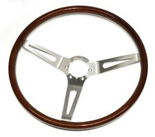 1967-1969 GM Cars Walnut Wood Steering Wheel Bare - 3 Spoke - Brushed Spokes
