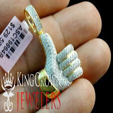 "10K Yellow Gold Silver Simu Diamond Thumbs Up Pendant 1.5"" Mini Mens Pave Charm"