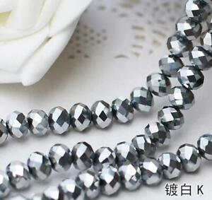Faceted Rondelle Bicone Glass Crystal Loose DIY Beads Assorted 4mm 71pc 06