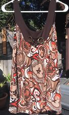 Heart Soul Blouse Large Earth Tones Sleeveless Embellished with 3 Gold Rings