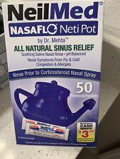 NeilMed NasaFlo Neti Pot with 50 Premixed Packets EXP 08/2022 + NEW
