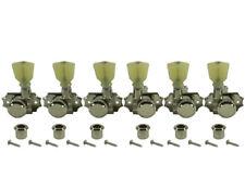 Kluson Revolution Tuners 3x3 No Collar Locking Pearloid button Nickel KEDPNCL3-N