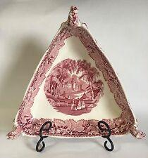 Vtg Mason Ironstone Pink Vista Triangular Vegetable Serving Bowl W/ Dragon Head