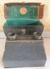 """appareil photo 1900-1920 """"type jumelles"""" Carpentier étui Gaumont"""