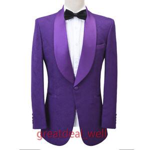 Men Purple Jacquard Paisley Jacket Tuxedos Groom Dinner Prom Party Suit Custom