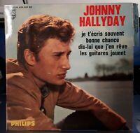 EP Johnny Hallyday 1ere pochette Sans JOEY & The Showmen - Languette Bleu recto