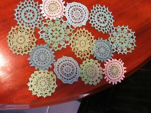 14 Crochet motifs mini doilies 6-8 cm teal n green