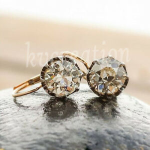 Solid 10k Yellow Gold 1.57 Ct White Round Old Mine Moissanite Dangle Earring