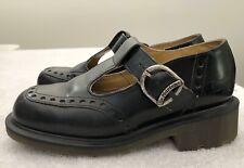 Dr Martens Mary Jane Strap Shoes Black Leather Brogue UK 4 US 6 England Vintage