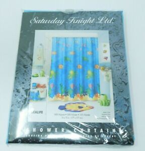 Saturday Knight Sea life Polyester Fabric Shower Curtain Ocean Water Theme 70x70
