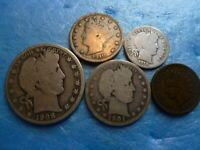 Estate Sale U.S. Silver Five Coin Collection Set * 90% Silver Type Coins