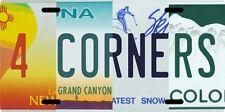 Four 4 Corners New Mexico Arizona Utah Colorado Aluminum Souvenir License Plate