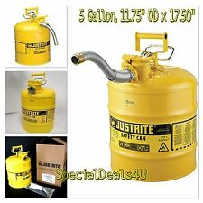 NEW 5 Gallon Fuel Safety Can Type II Flexible Hose Galvanized Steel Gas Oil 20L