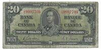 Bank of Canada 1937 D/E Gordon Towers Twenty Dollar Bank Note