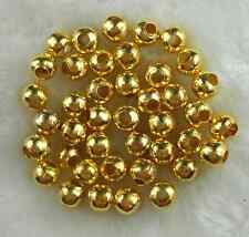 New 60Pcs 6mm Gold Plated Metal  Spacer Loose Beads