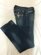 (*.*) ROCK REVIVAL * Womens KRISTEN STRAIGHT Blue Jeans / Denim * Size 31 / 12
