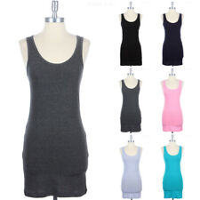 Sleeveless Solid Scoop Neck Mini Bodycon Dress Casual Easy Wear S M L