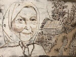 Art Wall Original Painting Rug Country Babushka Grandmam Village Acrylic 50x80cm