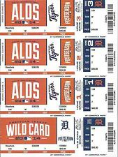 2014 ALDS FULL UNUSED BASEBALL TICKETS SHEET - ORIOLES @ DETROIT TIGERS