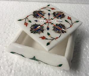 "4""x4""x2"" White Marble Beautiful Trinket Jewelry Box Floral Inlay Art Deco H3515"