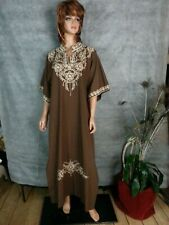 Vtg 70s Triene Maxi Long Dress Caftan Brown Cream Embroidery Boho Hippy Xl/Xxl