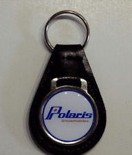 Reproduction Vintage Polaris Snowmobile Words Medallion Leather Keychain (025)