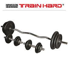 TrainHard 62 KG GUSS Hantelset Gewicht Hantelscheibe Curlstange Kurzhantelstange
