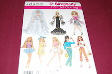 """Simplicity Pattern # 4719 - 11-1/2"""" Fashion Barbie Doll Clothes -8 Outfits - NEW"""