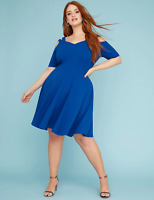 Lane Bryant Strappy Shoulder Fit & Flare Dress Plus 22 24 26 28 True Blue 3x 4x