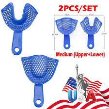80pcs Dental Impression Trays Perforated Bite Blue Medium Upperlower