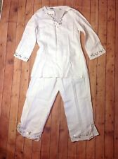 EDWARD Irish Linen 2 Piece Capri Pants & Tunic Top Set Womens Sz 8 Medium Ivory