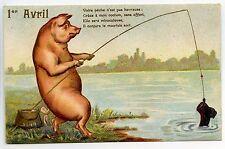 1ER AVRIL .. COCHON.PIG.PORC.PORK.GAUFRé.EMBOSSED.PECHE.PECHEUR.PEACH.FISHERMAN.