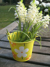 """Süßer Eimer """"Flowers"""" in gelb mit orange/weiss Blüten Pflanztopf mit Henkel"""