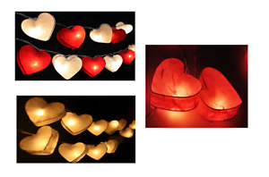 Heart Fairy Lights 20 Hearts Led Mains Op Wedding Bedroom Valentines Red White